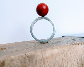 Red coral vertical silver ring/pendant