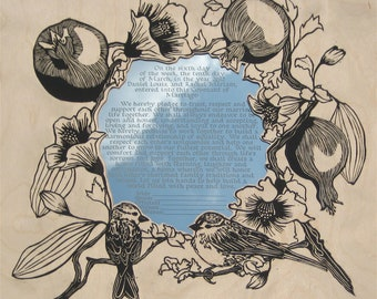 Sparrows & Pomegranates Ketubah or Vow Commemoration