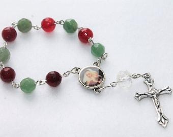 Christmas Blessed Mother and Baby Jesus Catholic Pocket Rosary with Agate--Catholic Rosary--Christmas--Custom/Handmade