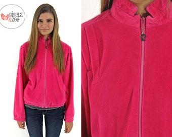 80s Pierre Cardin Neon Pink Velour Jacket ΔΔ Urban Velvet Track Jacket Oversized Jacket ΔΔ can fit • sm • md •  lg