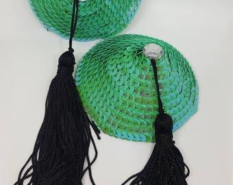 Large Turquoise Nipple Pasties with Black Tassels