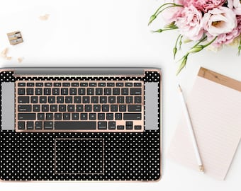 Mini Dot Polka and Rose Gold Chrome Detailing Inner Keyboard Tray Vinyl Skin          - Platinum Edition
