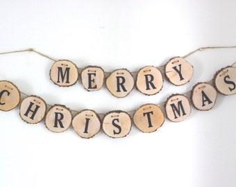 Christmas Banner, Christmas Sign, Merry Christmas Banner, Rustic Christmas Decor, Merry, Holiday Decor, Christmas Photo Prop, Mantle Sign