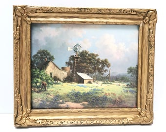 """Dalhart Windberg Signed Print, """"Memorable Springtide"""". A Bounty of Springtime Flowers Surround the Barn and Windmill"""