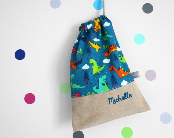 Customizable drawstring pouch - cuddly toy bag - name - kindergarden - dinosaurs - teal - yellow - green -  slippers or toys bag