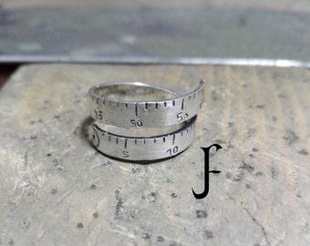 Measuring tape ring (925 sterling silver - fully handmade)