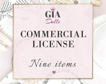 License for Commercial Use, No-Credit, for NINE Items, fashion Cliparts , Digital Paper Packs, Giadolls