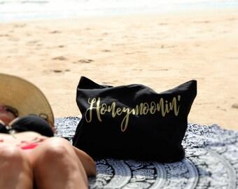 Honeymoonin' Black And Gold Tote Bag, Wifey Bag, Honeymoon Carryon Tote Bag, Bride To Be Bachelorette, Canvas Tote,Beach & Market Bag, Wifey