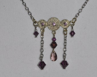 Upcycled Necklace Earrings Set Pink Purple Silver #879 One Of A Kind