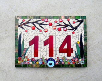 Mosaic House Number Plaque, House Sign, Address Plate, Door Number, Custom made Number, Glass and Ceramic Number, Yard art, Bespoke Number,