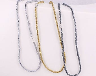 3mm Silver Gold Black Hematite beads necklace Long chain necklace charm necklaces
