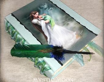 Book of Shadows / Elf Mother / Fantasy Art / BOS / Handmade Journal / Quill Pen / Refillable / Spell Book / Binder / Alter Supplies