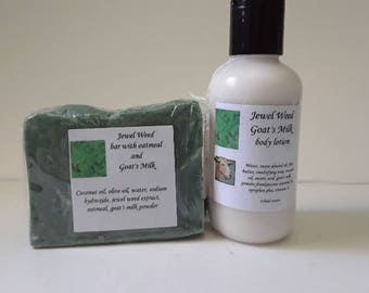 Jewel Weed Goat's milk soap and lotion combo