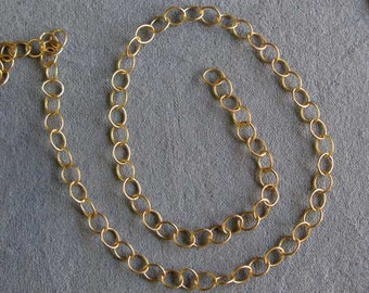 One Foot or More, Oval Link Chain, Hamilton Satin Gold Plated, 5 mm x 6 mm