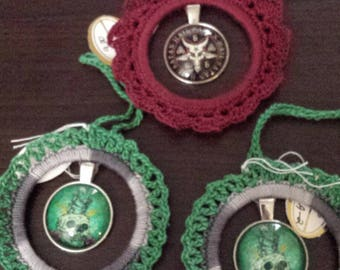 Crocheted  3 AnyTime Ornaments satantic goat skull skeleton lovers  goth  inventory clearance