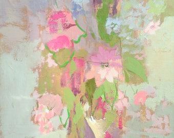 Pink Roses - Fine Art Canvas Print, Home Decor, Wall Art, Gift, Flowers, Garden, Living Room, Anniversary, Wedding
