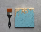 """Abstract Painting, 8x8x0,6"""", pastel turquoise, unlimitedcraftworks, gold leaf painting, original painting, impasto painting, Original, #03"""