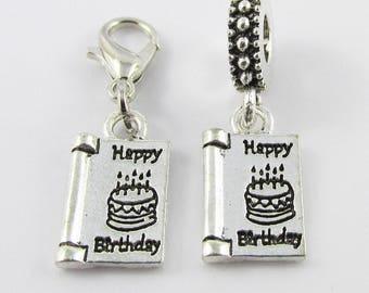 Happy Birthday Card Charm Select European Charm or Clip on