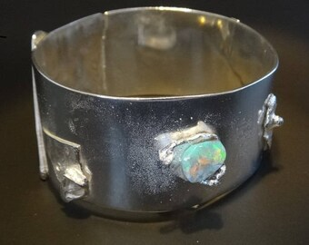 Solid Reticulated Sterling Silver & Opal Bracelet