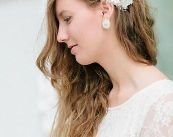 Flower Hair Clip   Wedding Hairpiece   Bridal Hairpiece   Bridesmaid Hair Clip   Hair Accessory   Feather Hairpiece   Vintage Style