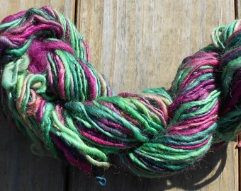 Handspun Yarn,  Handpainted Yarn,Single Ply,  8wpi, Aran Weight, Wool Yarn, 92 yards