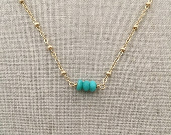 Dainty Gold Necklace - Delicate Gold Bracelet, Gold Filled, Turquoise Necklace, Gold and Turquoise Necklace, Bridesmaid Gifts, Women's, SGD