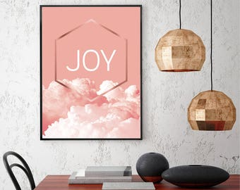 Downloadable print Printable art in peach pink rose gold Joy Wall decor Scandinavian modern Wall Art Valentine Gift Clouds Digital Download