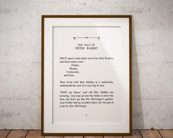 The Tale of Peter Rabbit, Literature Digital Printable - Typography - 8x10  11x14 Wall Art Print - Instant Download