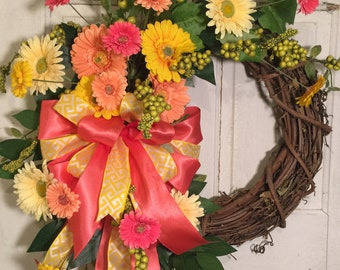 Grapevine Wreath, Spring Wreath, Mother's Day Wreath, Front Door Wreath, Colorful Wreath, Daisy Wreath, Gerbera Daisy Wreath, Yellow Wreath