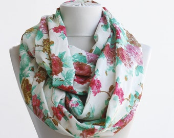 Cotton infinity scarf red and green scarf floral loop scarf rose print scarf women scarves spring fashion  circle scarf mothers day gift