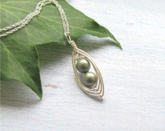 Peapod Necklace, Sterling Silver Peapod Necklace, Two Peas In A Pod, Peapod Jewelry
