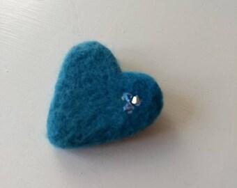 Blue needle felted heart brooch