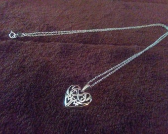 Sterling Silver Heart and 4 Leaf Clover Pendant with Chain