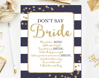 Navy and Gold Bridal Shower Game, Don't Say Bride Game Glitter Confetti Navy Blue Bridal Shower Game Printable Instant Download BR13