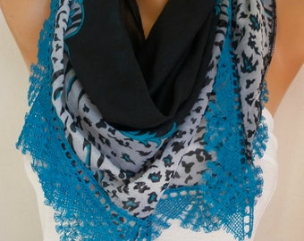 Black & Teal Cotton triangle Scarf Shawl, Spring SummerScarf,  Cowl  with  Lace Edge,Gift for her mom,women fashion accessories,unique scarf
