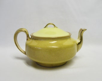 China Tea Pot - Gold and Yellow - Vintage Tea Pot - Shabby Chic, Cottage, Home Decor