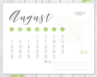 Herbs calendar, kitchen calendar, 2018 calendar, kitchen decor, printable, green herbs calendar
