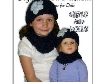 Knitting pattern. Matching Girl and Doll Beanie and Neck Warmer. 23 inch doll, My Twinn PDF, 1902