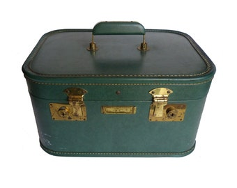 Vintage Sears Roebuck & Company Luggage Green Train Case