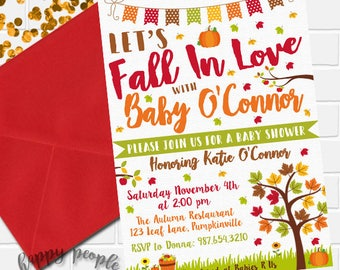 Fall Baby Shower Invitation, Pumpkin Baby Shower Invitation, Fall In Love Invitation, Fall Theme Baby Shower Invite, Autumn Baby Shower