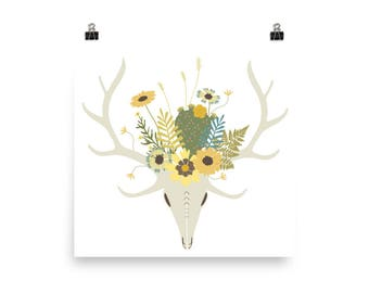 Blooming Skull - White - Archival Quality Print
