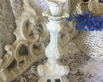 Ornate Chippy Shabby Candlestick ~ Wedding~ Awesomeness