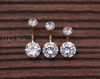 Belly ring Belly button ring Belly button jewelry Double Zircon Short bar 6 8 10 mm
