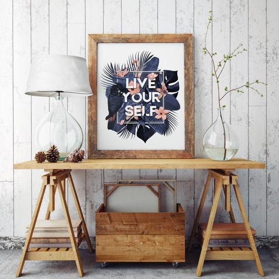 Live Your Self | Enhanced Paper Poster | Wall art decoration | Tropical leaves | Parrots and butterflies | Motivational poster | ZuskaArt