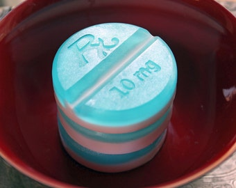 4 CHILL PILL SOAPS, New Round Chill Pill Soap - Set of 4, Chill out and Relax, Choose a Scent & Color