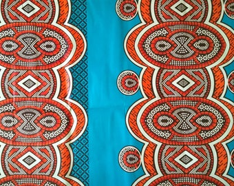 African wax fabric * 0.50 m * orange ethnic pattern on a blue background