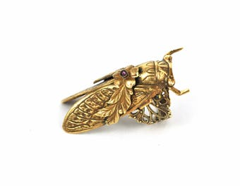 Cicada ring vintage ring filigree ring patina brass ring victorian insect ring  soldered