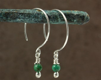 Small Turquoise Drop Earrings with Sterling Circle Ear Wires, Drop Earrings, Turquoise Earrings, Southwestern Earrings,