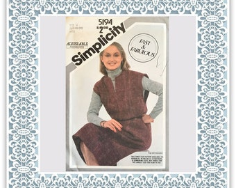 Simplicity 5194 (1981) Misses' pullover jumper (with petite option) - Vintage Uncut Sewing Pattern