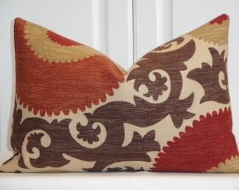 SET OF TWO - Decorative Pillow Cover - Fahri Clove - Suzani - Accent Pillow - Lumbar - Brown - Dark Red - Tan